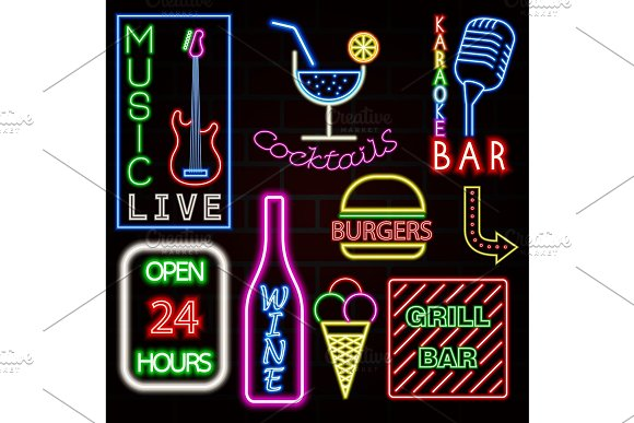 Colorful Neon Sign Set Vector Illustration EPS10