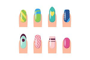 Nail Service and Art Poster Vector Illustration