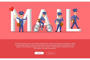 Mail Conceptual Web Banner with Cartoon Postman