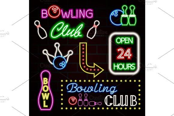 Bowling Neon Sign Set Bowling Club Logo Emblem Vector Illustration EPS10