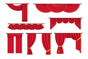 Scarlet Pompous Curtains Collection on White.