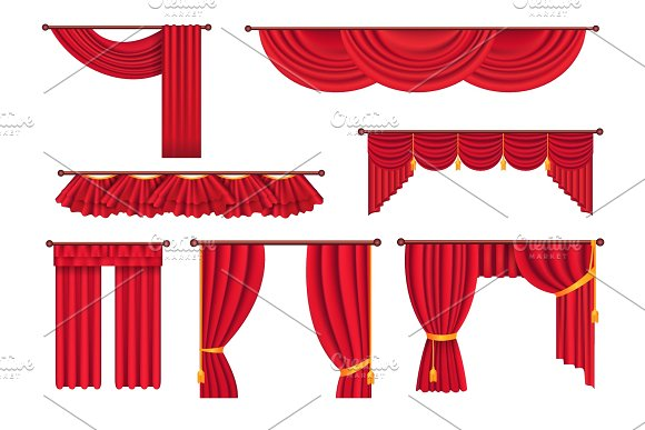 Scarlet Pompous Curtains Collection On White