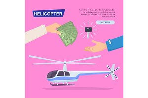 Buying New Helicopter Online. Web Banner. Vector