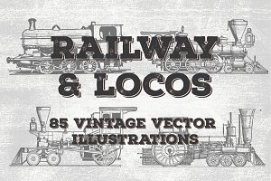 Railroad, Train, Locos Vector Art