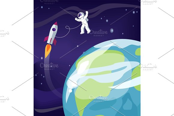 Astronaut And Earth With Ship Vector Illustration