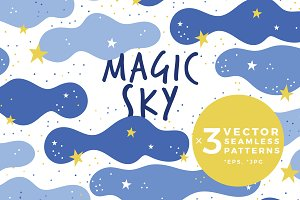 Magic Sky - pattern with cute clouds