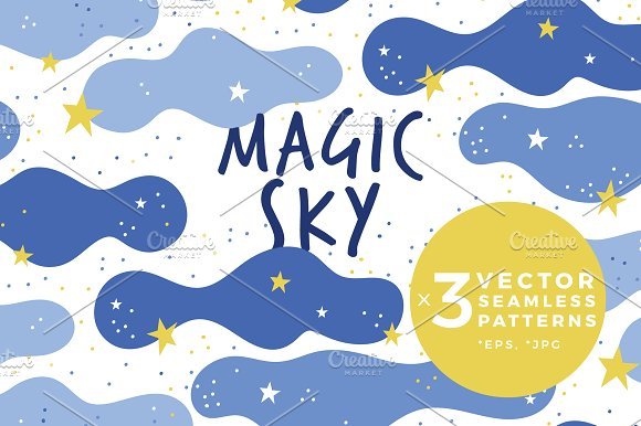 Magic Sky Pattern With Cute Clouds