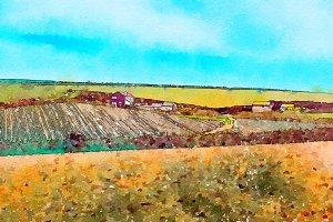 Cornwall, UK, watercolor style