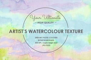 20 HAND PAINTED WATERCOLOUR TEXTURES