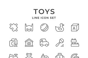 Set line icons of toys