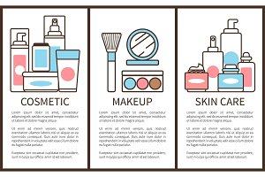 Cosmetic and Makeup Skin Care Vector Illustration