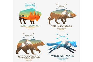 Mountains and boar, bear, fox, buffalo silhouette wild animal. Multiple or double exposure. Old label or badge. Journey, travel by nature. Badge or emblem or label for your design.