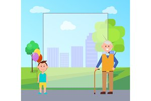 Grandfather Grandson Poster Vector Illustration