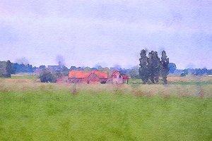 Belgium, watercolor