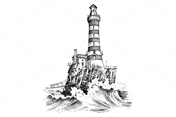 Lighthouse And Sea Marine Sketch Nautical Journey And Seascape Lighting In The Ocean Engraved Vintage Hand Drawn Atlantic Tidal Wave Navigation For Ships And Yachts