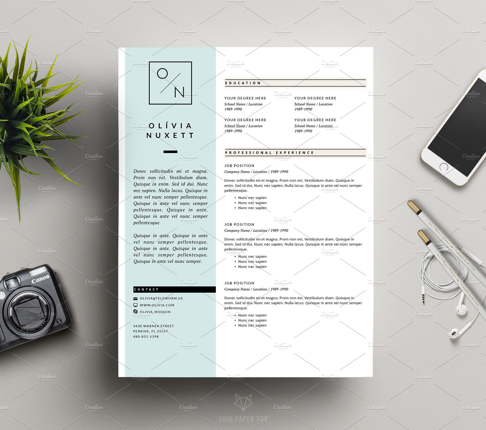 minimalist resume for ms word  resume templates on creative market also
