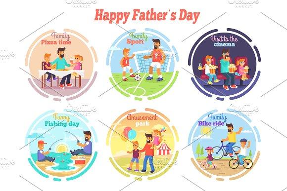 Happy Fathers Day Celebration Set Of Illustrations