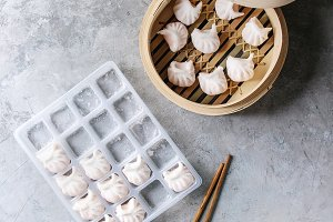 Frozen Asian steam dumplings