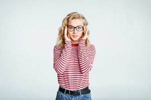 blonde in stylish glasses