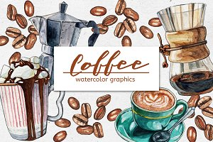 Bundle of Watercolor COFFEE Graphics