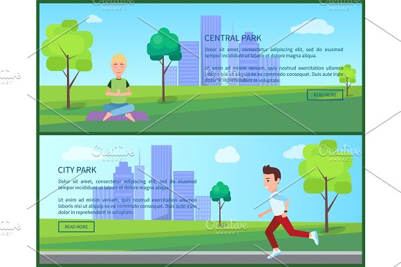 Cental And City Park Posters Vector Illustration