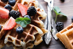 Belgian waffles with strawberries