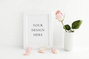 Blush Rose Petals Frame Mockup