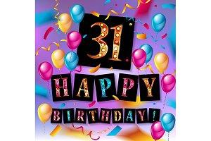Happy Birthday thirty one 31 year