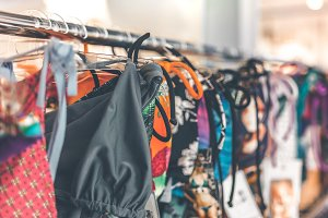 Women swimsuits in the retail store on Bali island, Indonesia. Fashion shopping concept in Asia.