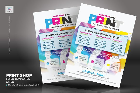 Print Shop Flyer Template Flyer Templates Creative Market - Pricing flyer template
