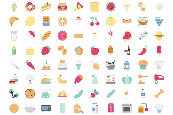 Food Color Vector Icons