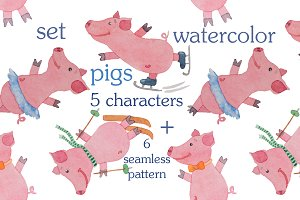 Set of pigs painted by watecolor