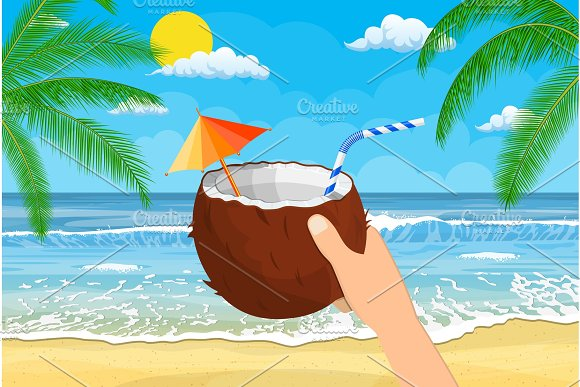 Coconut With Cold Drink Alcohol Cocktail In Hand