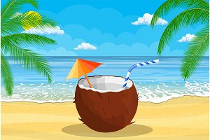Coconut with cold drink, alcohol cocktail in hand.