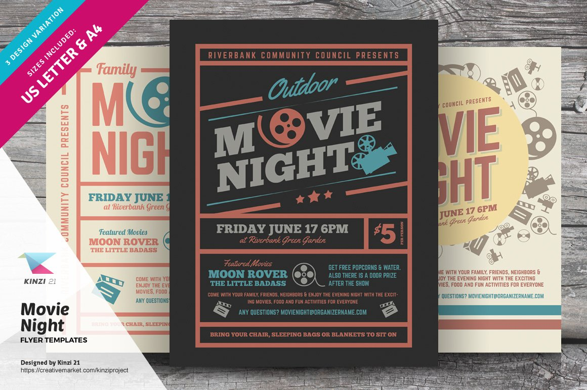 movie night flyer templates flyer templates creative market