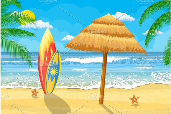 Summer Time On Beach With Umbrella