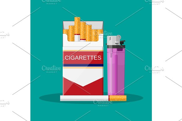 Opened Red Cigarette Pack