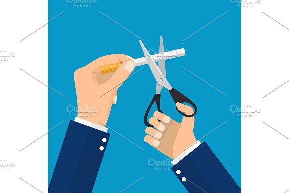 Man Hands Holding Scissors Cut A Cigarettes