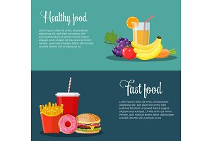 Healthy and unhealthy food banners.