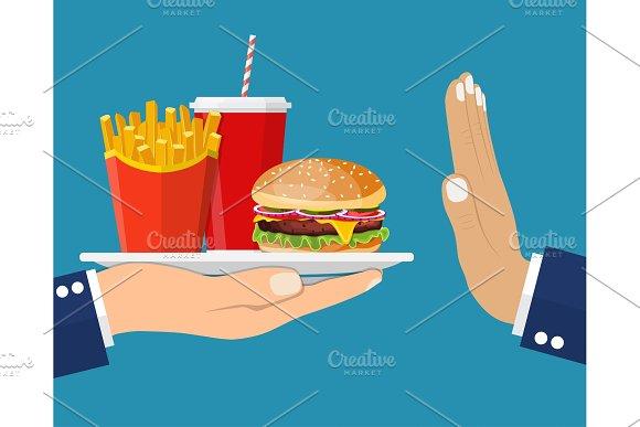 Stop Fast Food Junk Snacks Concept