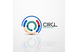 Abstract swirl lines symbol, circle logo icon