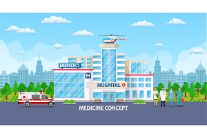 Medical concept. Panoramic background with hospital