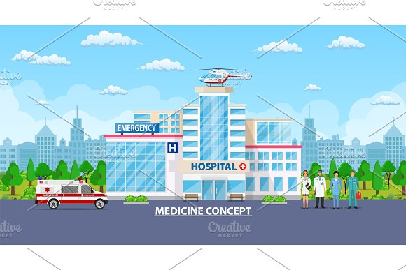 Medical Concept Panoramic Background With Hospital