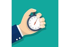 Man hand holding stopwatch.