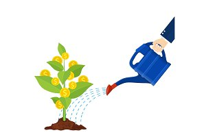Watering money coin tree with can. illustration.