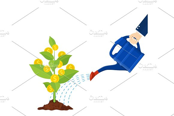 Watering Money Coin Tree With Can Illustration