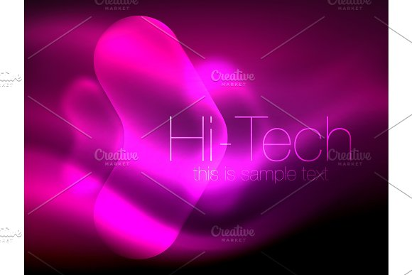 Blurred Arrows In Dark Space Neon Pointers Glass Glossy Design Abstract Shiny Techno Background Web Banner