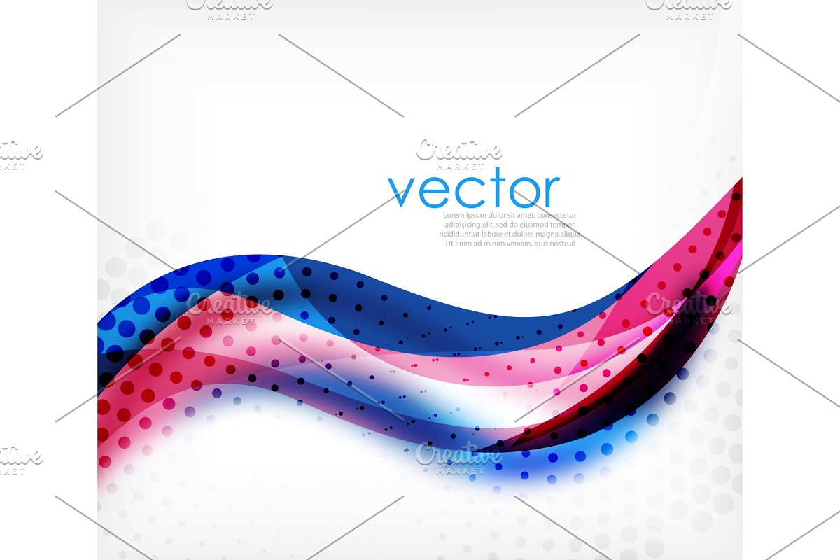 Vector colorful wavy stripe on white background with blurred effects. Vector digital techno abstract background in Illustrations - product preview 8