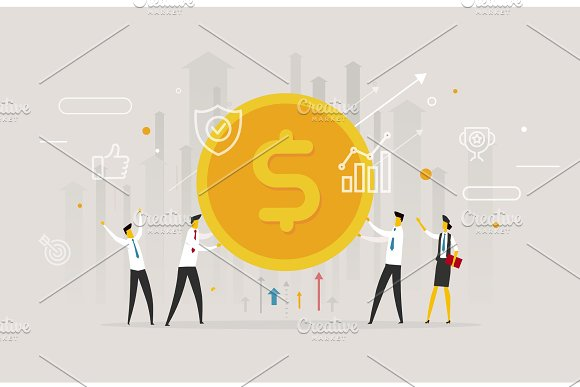 Businessmen Team Hold A Huge Dollar Coin