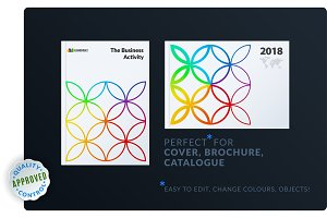 Creative design of brochure set, abstract annual report, horizontal cover, flyer in A4